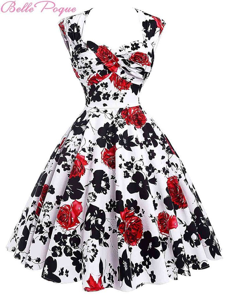 f8542d1144b1 Audrey Hepburn Vestidos Cotton Floral Print Vintage 50s Dresses Women Robe Rockabilly  Pin Up Dress BP000024 Alternative Measures - Brides & Bridesmaids ...
