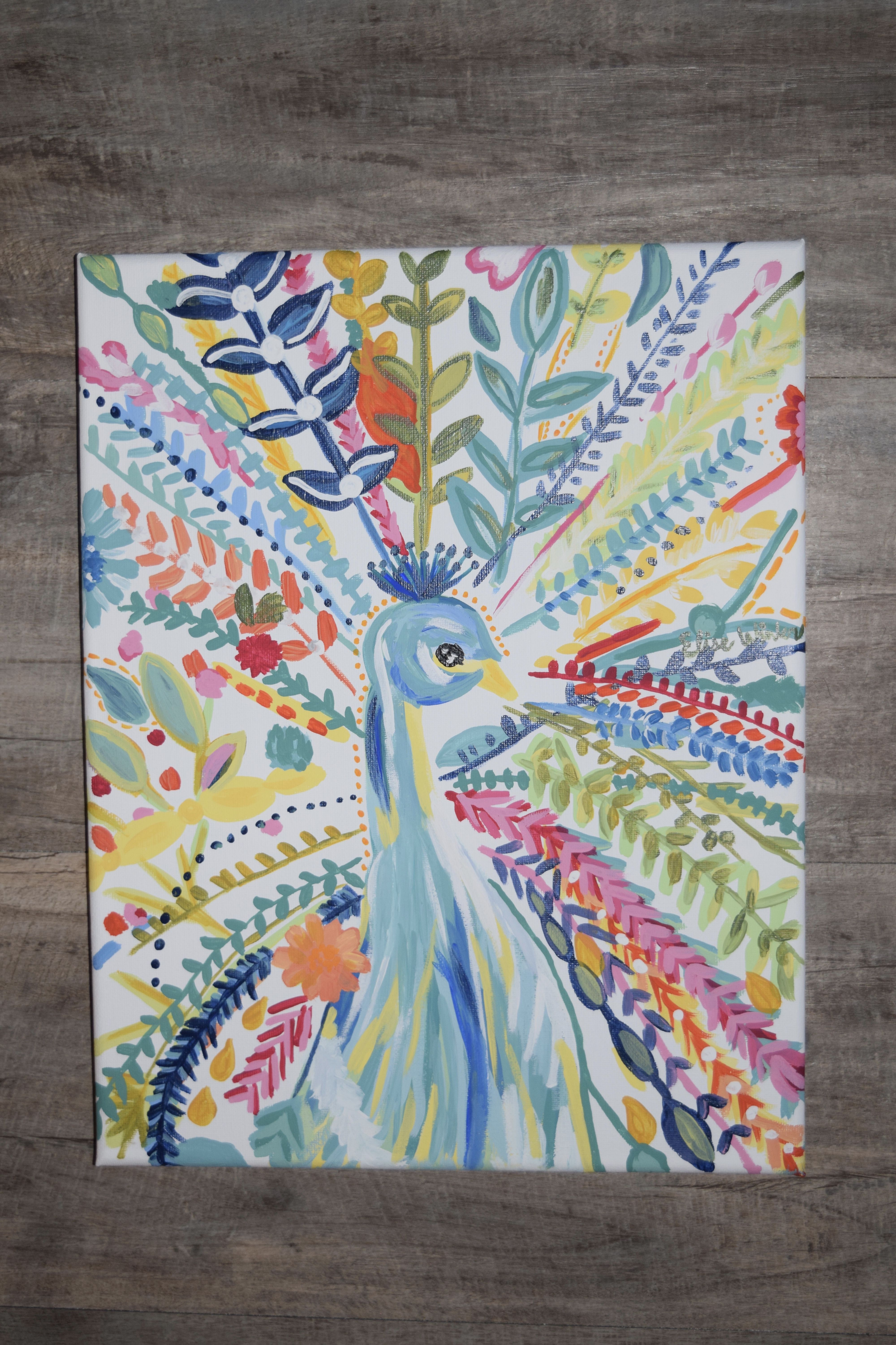 Abstract Peacock hand painted by Elise Winter