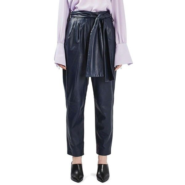 Women's Topshop Boutique Leather Carrot Trousers ($420) ❤ liked on Polyvore featuring pants, black, sash belt, pleated trousers, pleated pants, genuine leather pants and ankle length pants