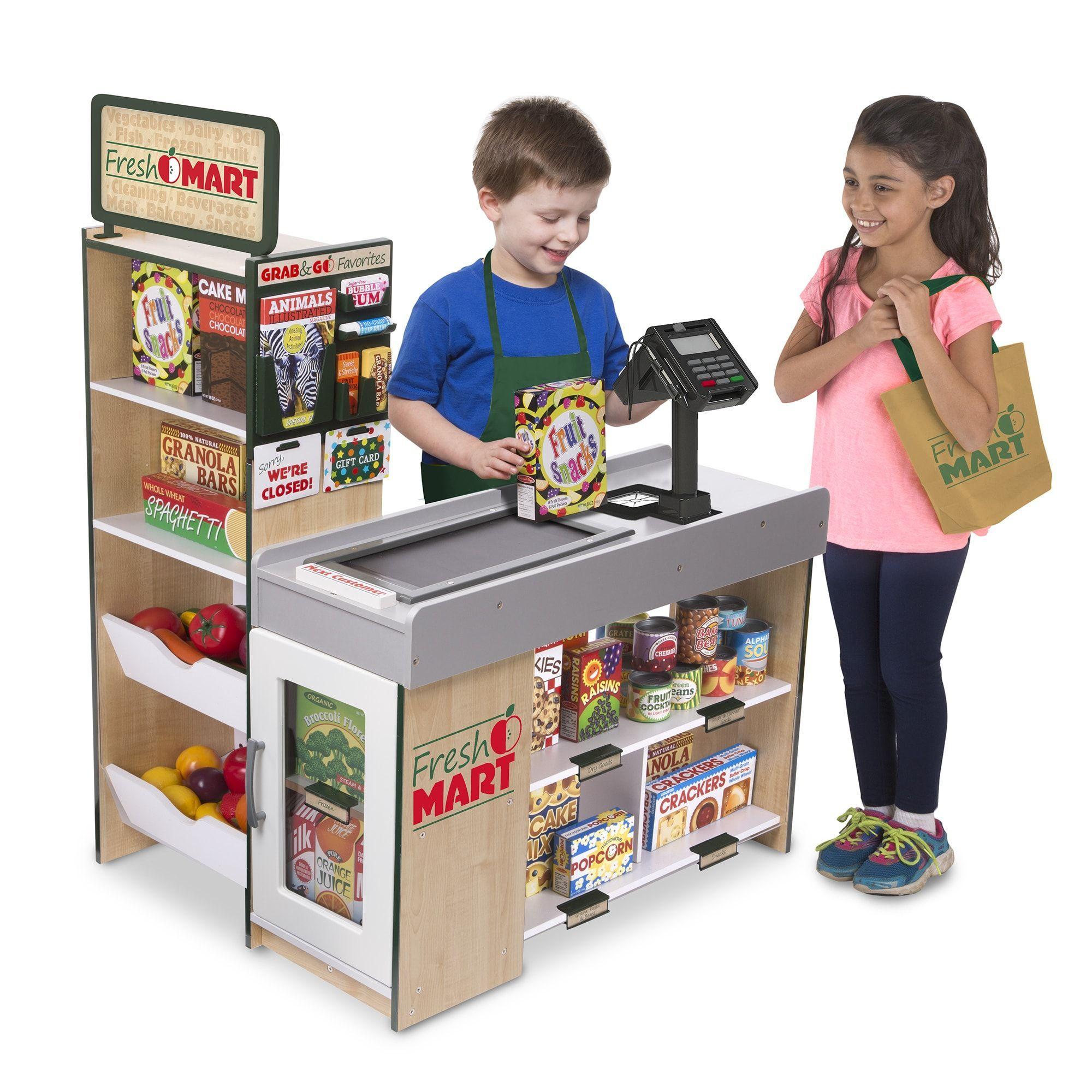 Melissa doug freestanding wooden fresh mart grocery