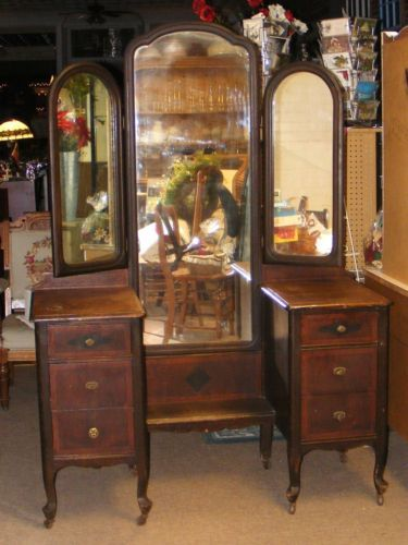 Old Antique Dark Wood Vanity Dresser W Tri Fold Mirrors 6 Drawers