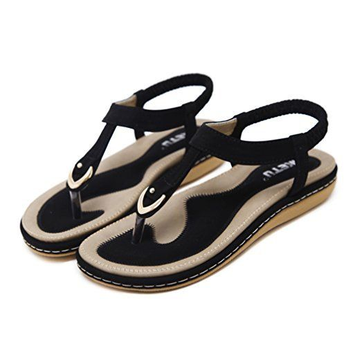 355cc5421 DolphinGirl Bohemian Simple T-Strap Summer Vacation Flat Thong Sandals