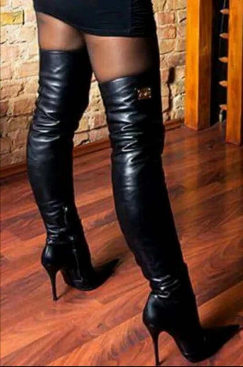 Pin by lasse on Stiletto heels | Boots, Leather thigh high