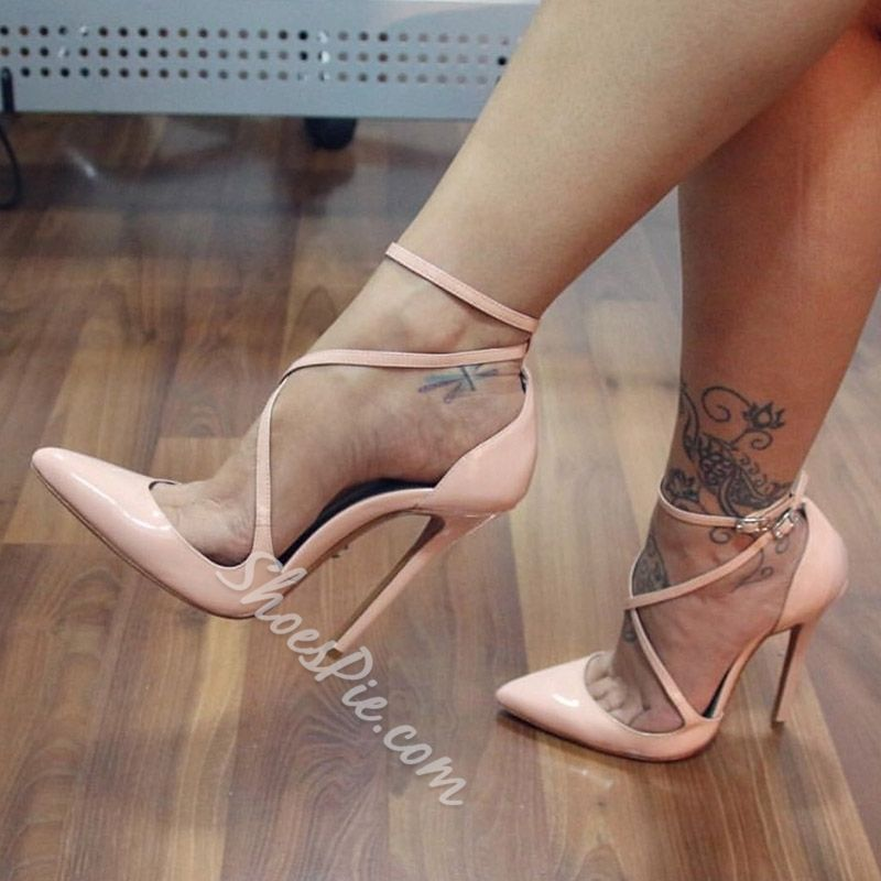 Nude Pu Toe Thong Strappy High Heels   Shoes