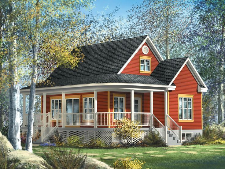 072h 0204 Charming Country House Plan With Wrap Around Porch Country Cottage House Plans Cottage House Plans Cottage Plan