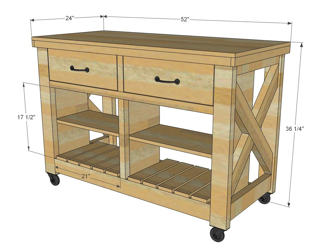 Ana white build a rustic x kitchen island double free and easy
