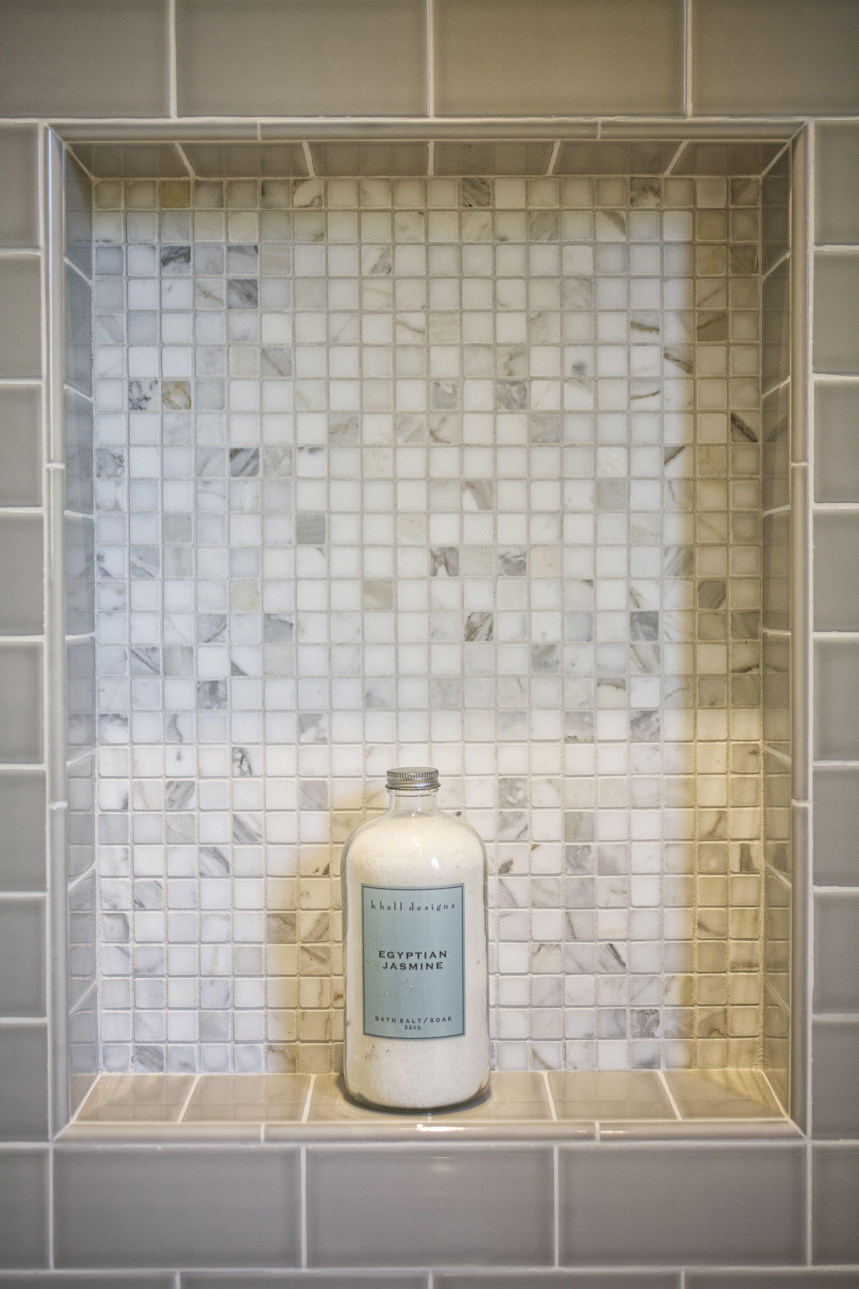 Urban Farmhouse bathroom- Shower niche with AKDO Calacatta Honed ...