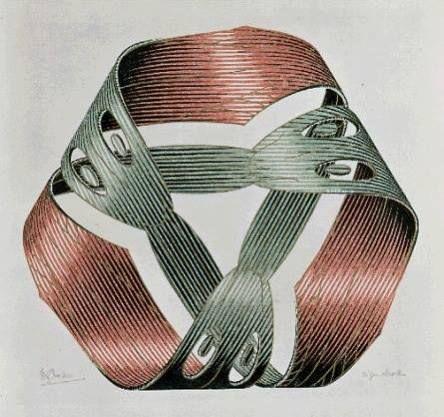 M. C. Escher - Moebius Strip, 1961 - Woodcut  Escher maakt een aantal prints gebaseerd op het concept van de Möbius band, ontdekt door de Duitse mathematicus en astronoom Ferdinand Möbius (1790-1868). Een Möbius band is een ruimtelijk figuur dat onmogelijk lijkt maar toch echt kan bestaan. Hij speelde er al voorzichtig mee in zijn houtsnede Ruiter uit 1946 en zijn houtgravure Zwanen uit 1956. Band van Möbius I uit maart 1961 is de eerste volledige versie, waarin drie slangen elkaar in de…