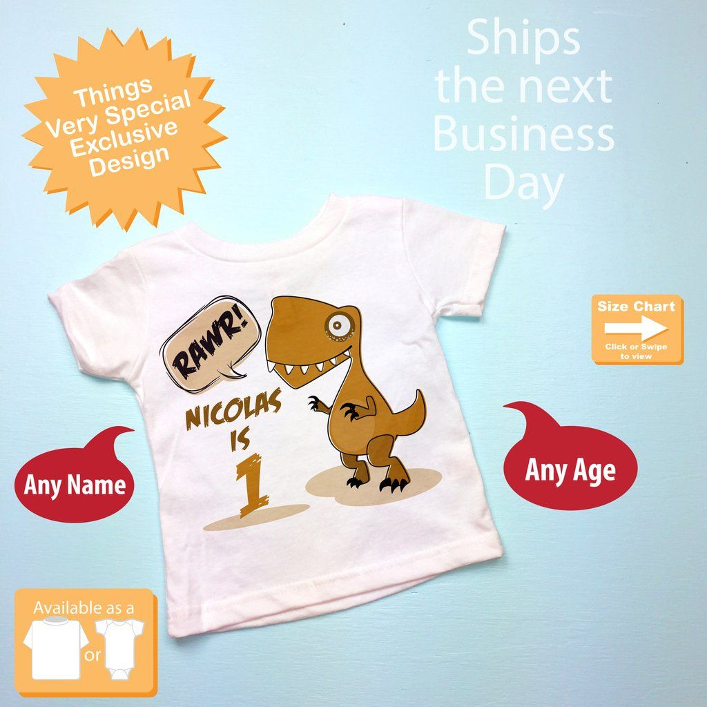 Dinosaur 1st Birthday Shirt Personalized Dino 1 Year Old Boy Gift 09192016c