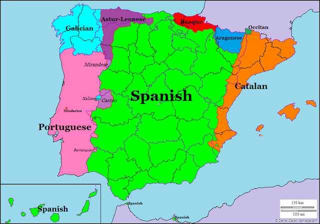 Spain Map Of Languages.Languages Of Spain And Portugal 1028 720 Ancestery Map