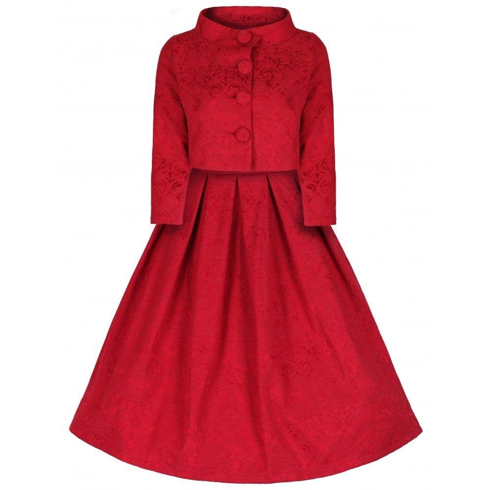 Marianne' Red Swing Dress and Jacket Twin Set | Swing dress ...