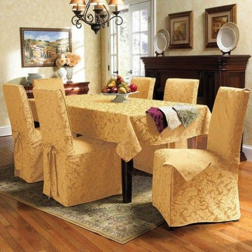 Green Or Ivory Red Genoa Jacquard Dining Room Set Image
