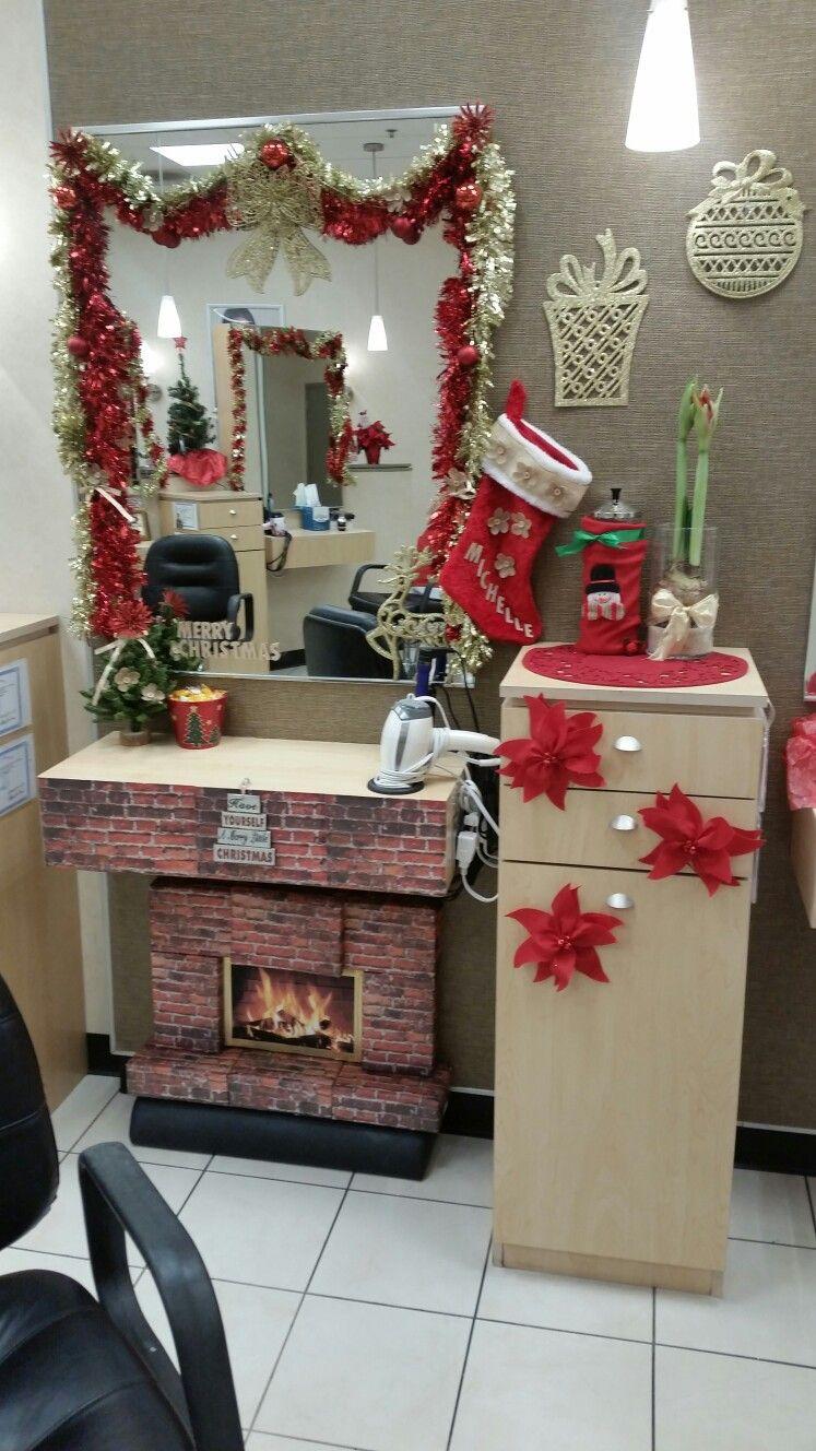 Salon Station Decorating For Christmas Christmas Salon Salon Stations Hair Salon Stations