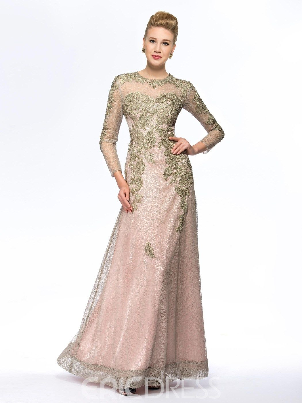 Classy Jewel Neck Long Sleeves Mother of the Bride Dress #MotheroftheBrideDresses #Classy #Jewel #Neck #Long #Sleeves #Mother #Bride #Dress