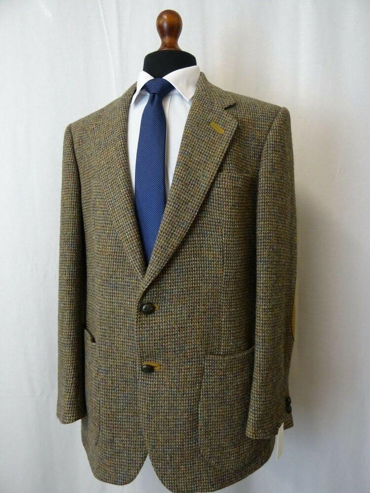 0384d44c8 Men s Daks Brown Textured Vintage Harris Tweed Jacket Blazer 42L BJ76   fashion  clothing