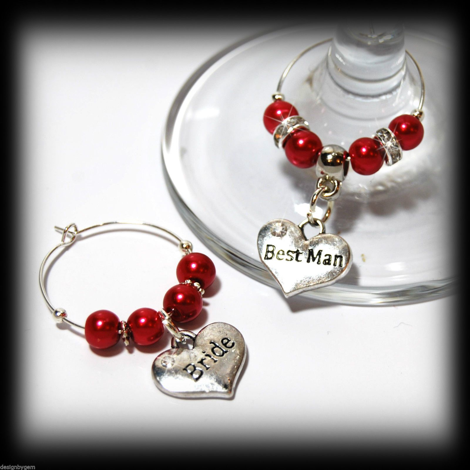 Beautiful Bright red wedding wine glass charms for top table or ...