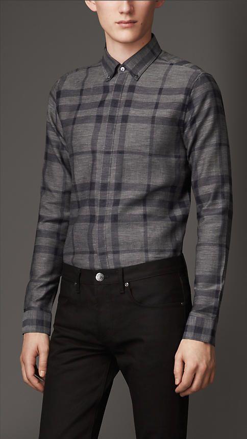 87782b3c81c7 Slim Fit Check Cotton Shirt   Burberry   Menswear Style Influence ...
