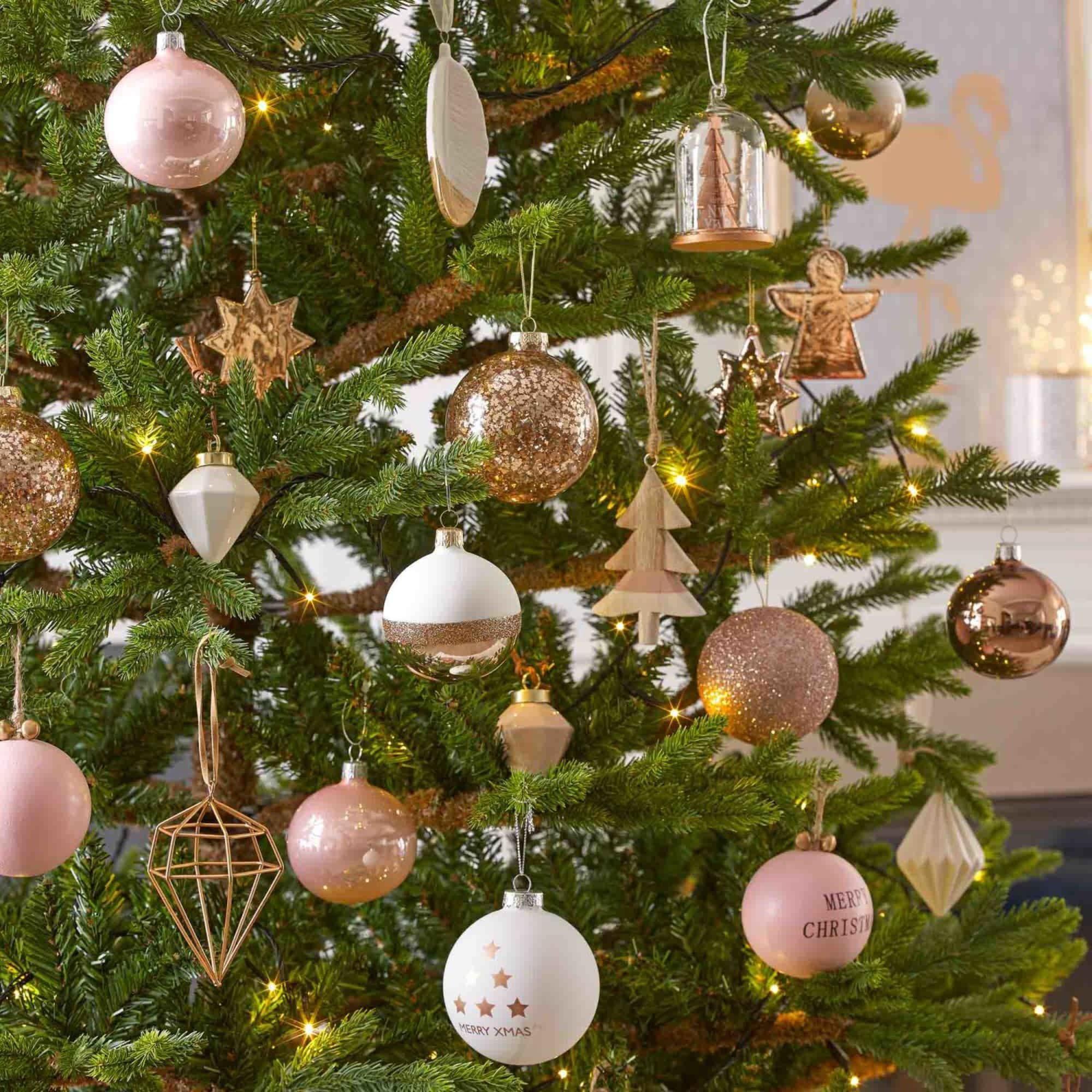 Boule de Noël en verre à paillettes dorées Gloss | Glass christmas