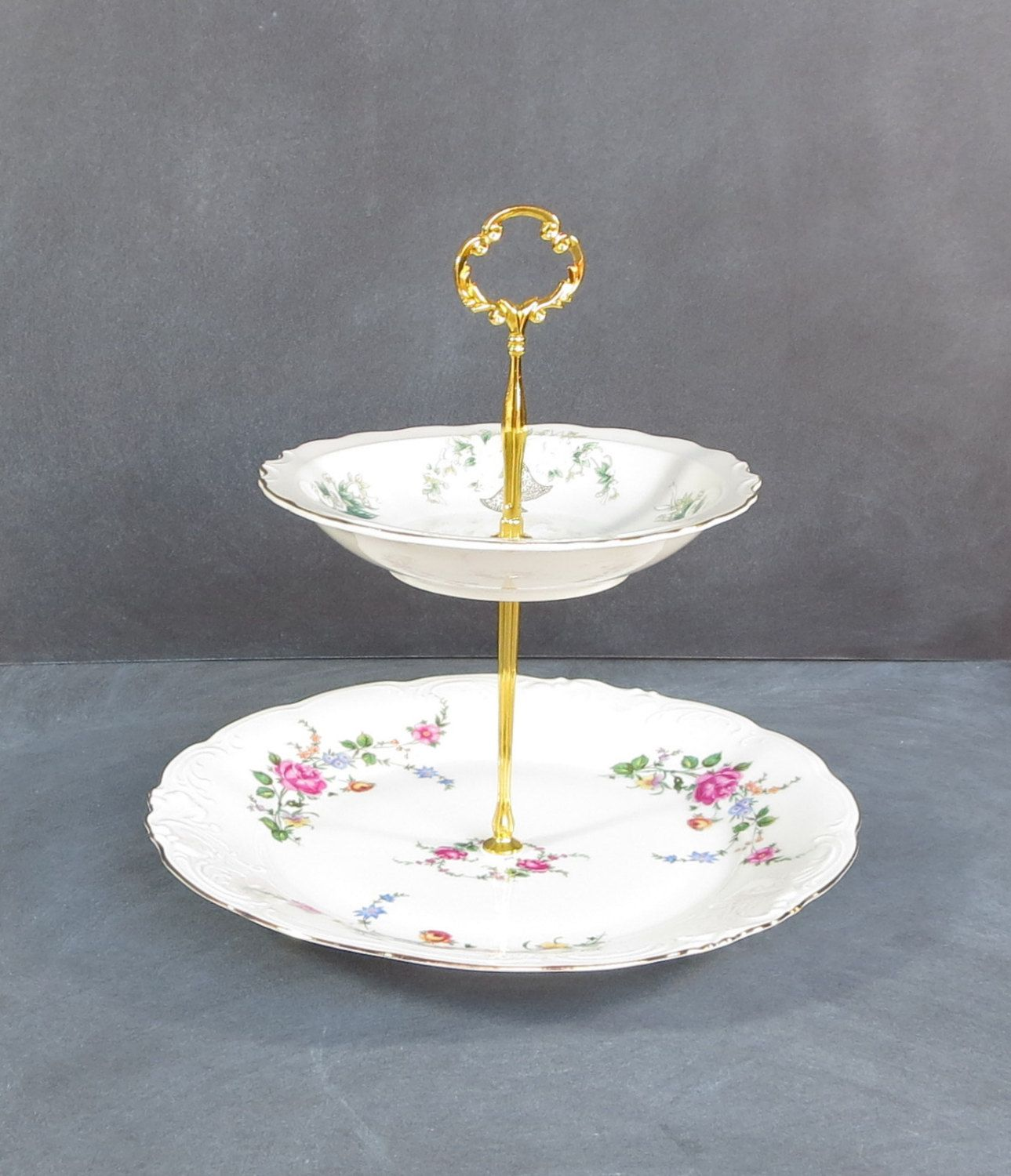 Anniversary Cake Plate Two Tier Plate Stand | Floral Mismatched China with Gold trim and & Anniversary Cake Plate Two Tier Plate Stand | Floral Mismatched ...