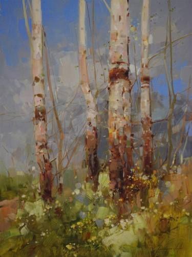 "Saatchi Art Artist Vahe Yeremyan; Painting, ""Birches Trees, landscape oil…"