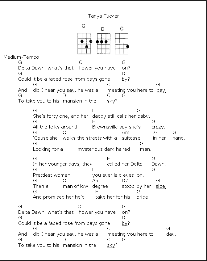 Delta Dawn by Tanya Tucker - words & chords for ukulele | The Uke ...