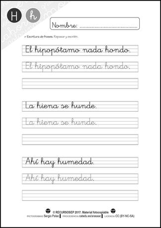 Cartilla Lectura Recursosep Letra H Ficha5 Texto En Cursiva Lectoescritura Escritura Creativa Para Niños