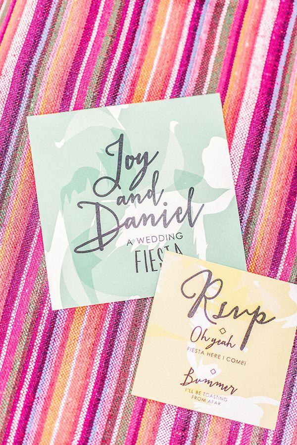 watercolor invitation suite perfect for a bight fiesta wedding