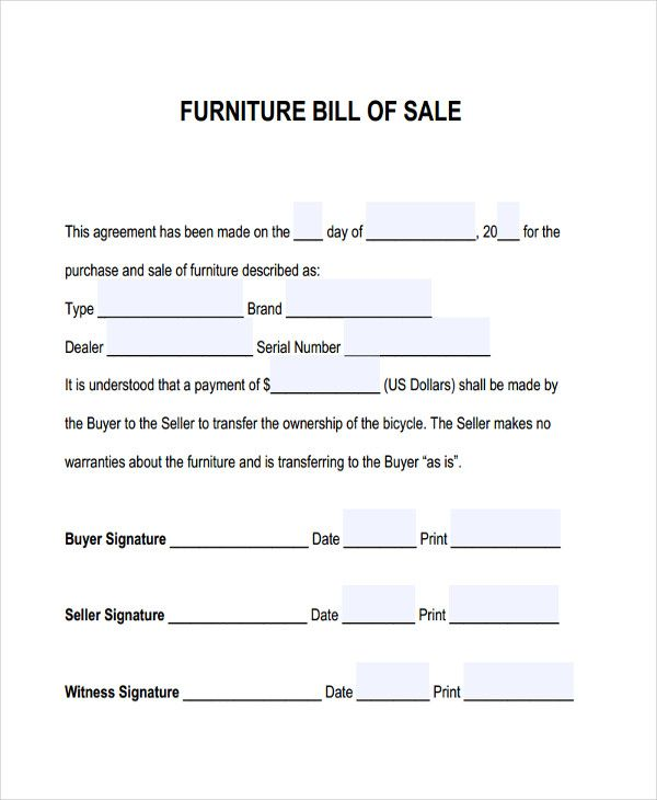 Furniture Bill Of Sale  Free  Premium Templates  Bill Of Sale