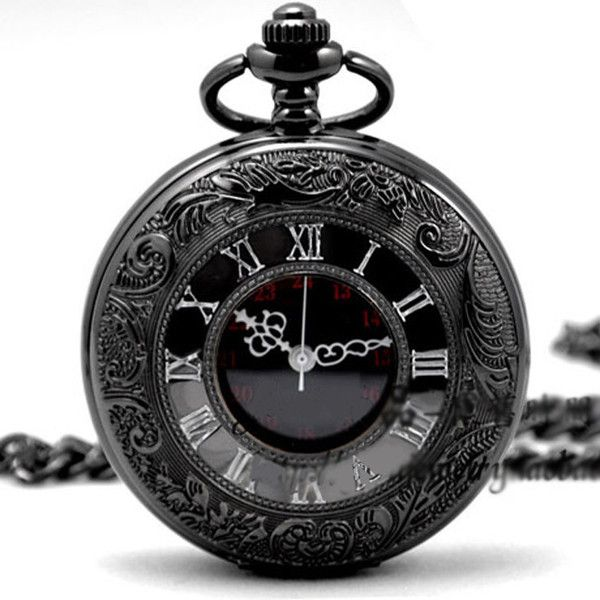 Quartz Pocket Watch Black Chrome Pocket Watch Pendant Roman Number... (€16) ❤ liked on Polyvore featuring jewelry, watches, necklaces, accessories, clocks, roman numeral jewelry, roman numeral pocket watch, crown pendant, quartz pocket watches and quartz jewelry