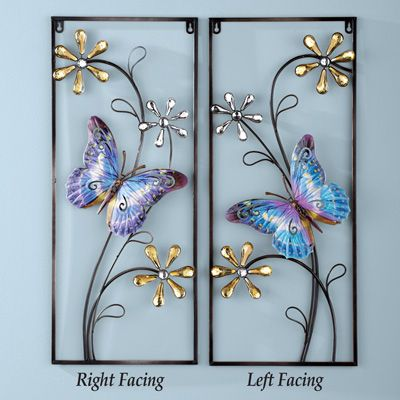 Butterfly with Crystals Metal Wall Art Decor | Metal wall art ...