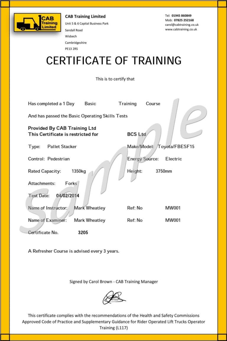 Forklift Training Certificate Template in Forklift