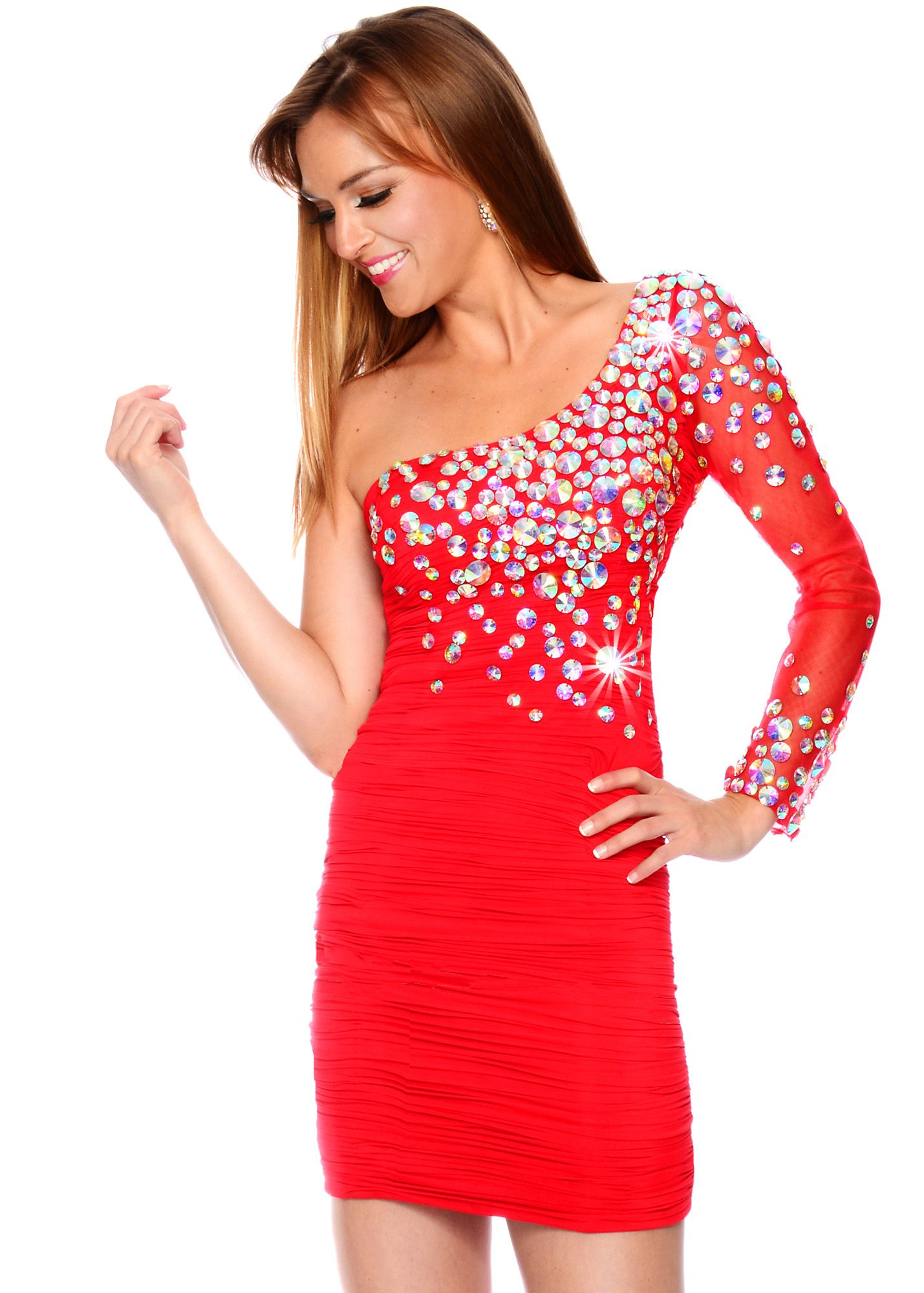 Precious formals p red beaded one shoulder short stretch prom