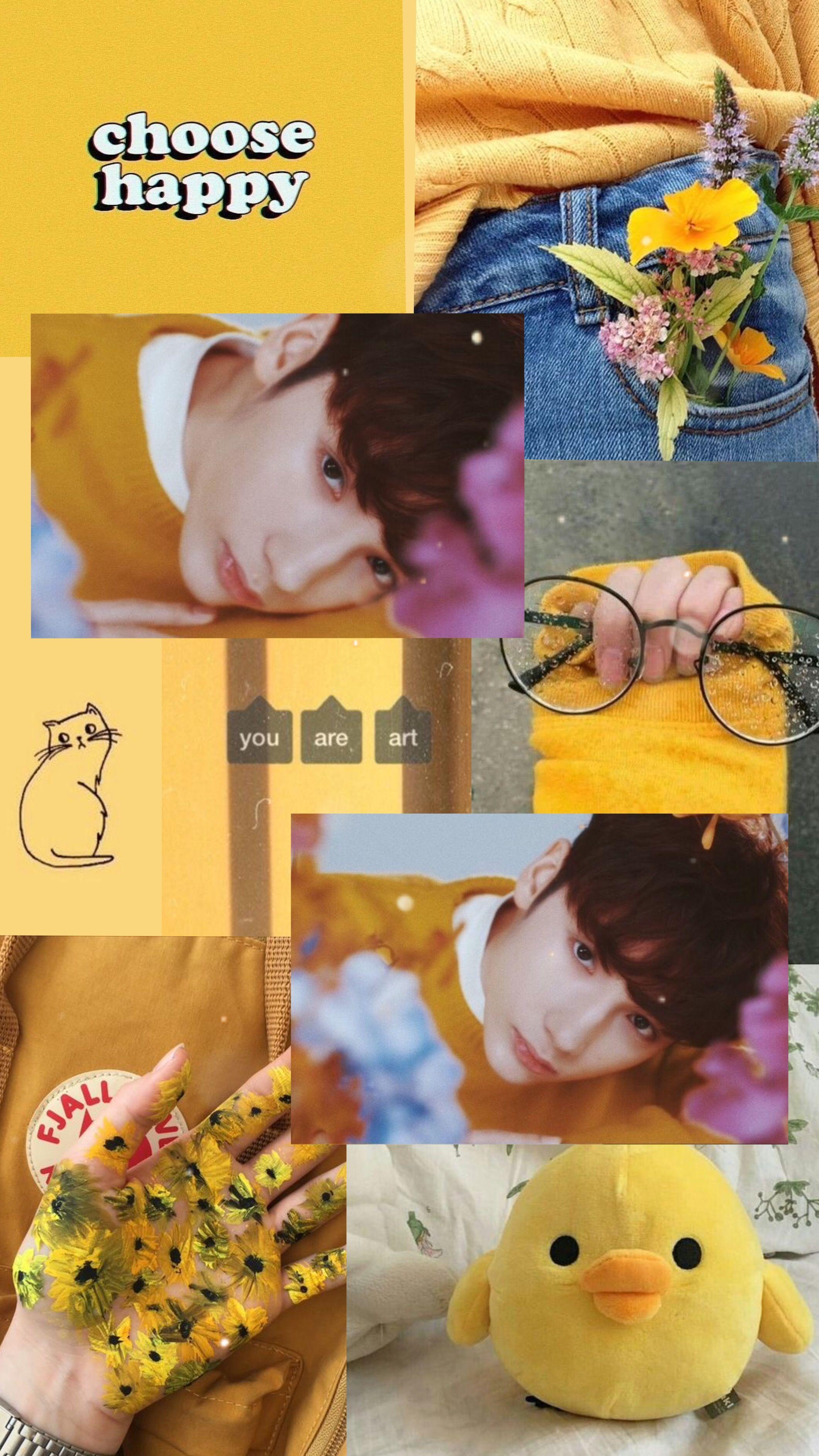 Hueningkai yellow aesthetic edit Gambar, Kolase foto, Kolase