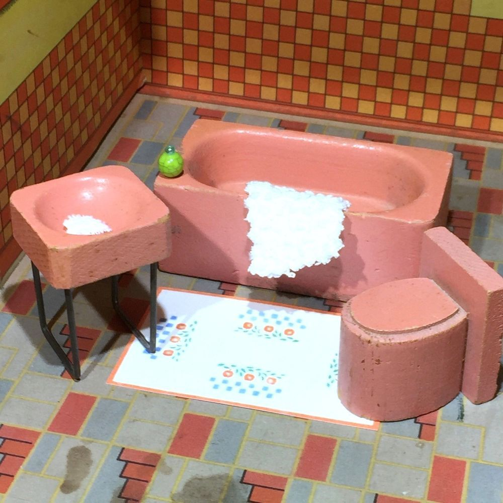 Miniaform 1939 RARE WOOD BATHROOM Vintage Dollhouse Furniture Lincoln Style  1:16
