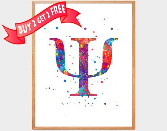 b02c95419a04f Psychology Symbol Watercolor Print Psychiatry Poster Psychotherapist ...