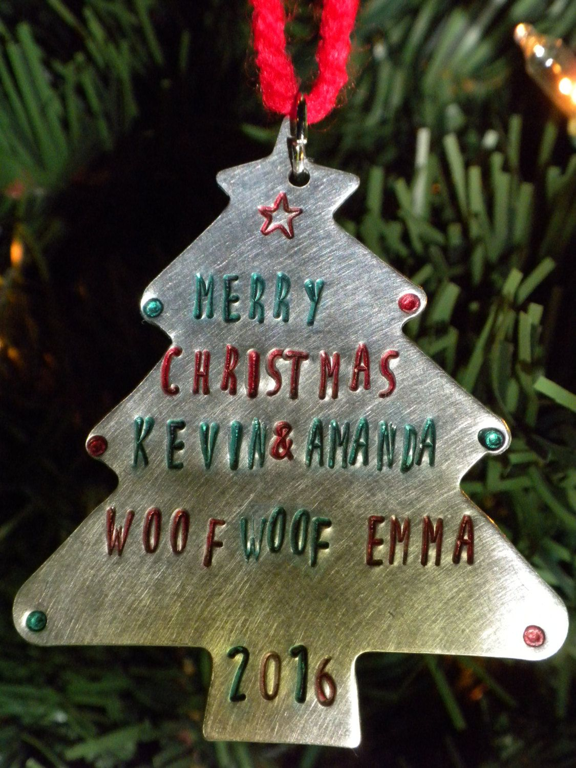 Christmas Tree Ornament Custom Ornament Metal Stamped Ornament Etsy Custom Ornament Christmas Tree Ornaments Personalized Ornaments