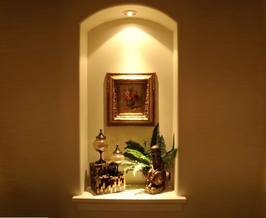 curved top wall niche with light - Wall Niches Designs