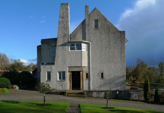 Mackintosh's 1903 design for the Hill House perfectly juxtaposes the Scottish baronial tradition with a modern visual vocabulary. He combined a massive chimney and staircase tower with a plain, practical plan, incorporating local sandstone to give the family home a familiar, cottage-like feel. Photo courtesy Mackintosh Architecture, University of Glasgow.