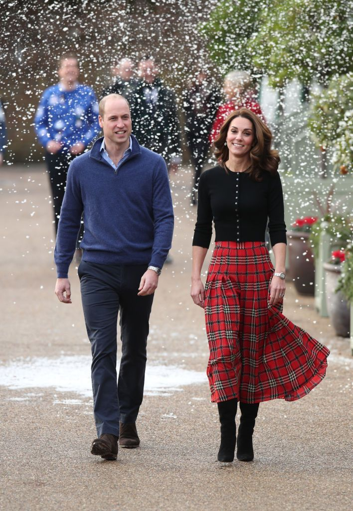 Kate Middleton Wears a Festive Emilia Wickstead Plaid Skirt and Brora Top for Her and Prince William's Christmas Party for RAF Families