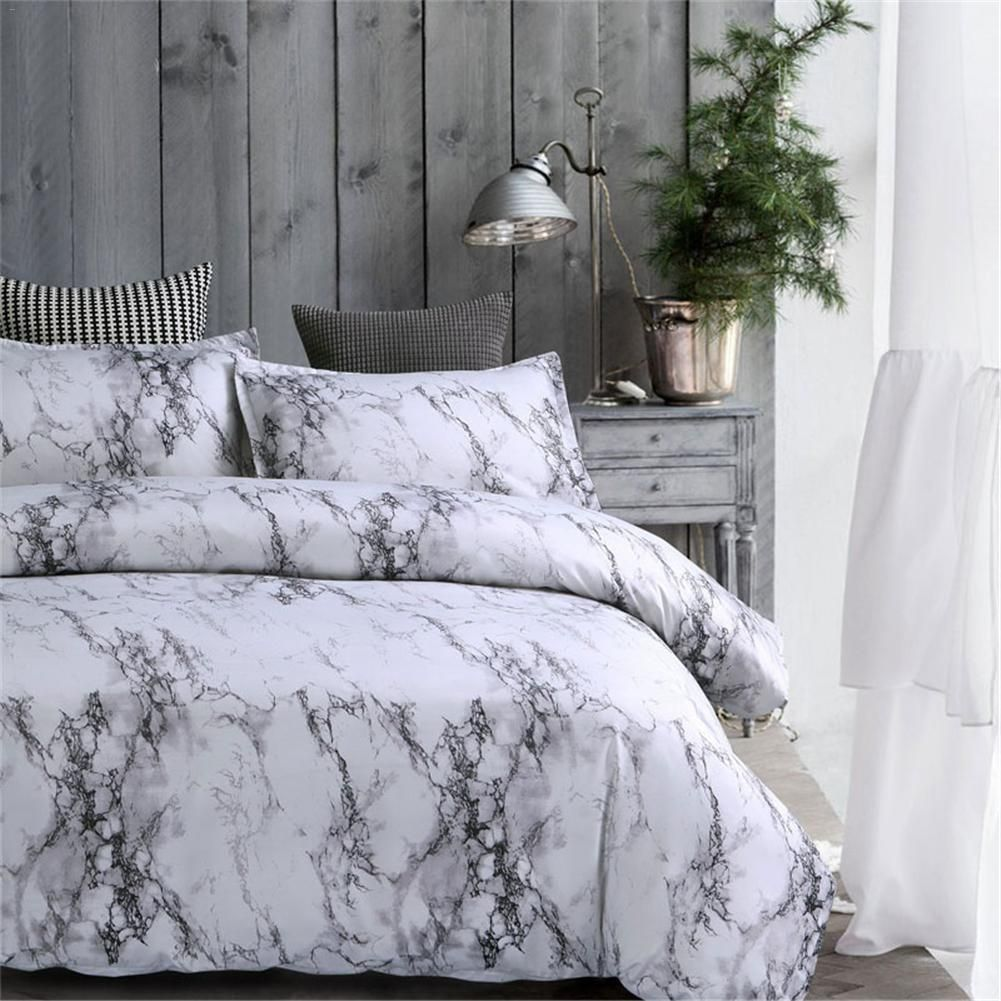 Absolutely Beautiful 3 Pcs Gray Bedroom Comforter Bedding Set Absolutely Beautiful Bedding Bedro Marble Bed Set Grey And White Comforter Comfortable Bedroom