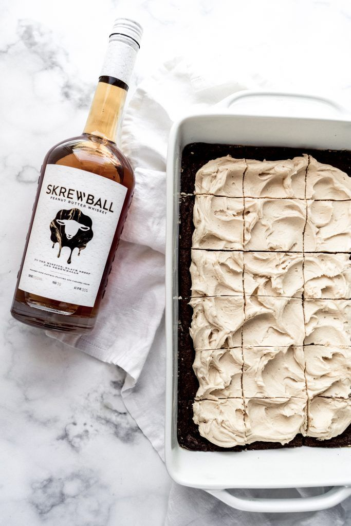 Photo of Whiskey Brownies with Peanut Butter Frosting