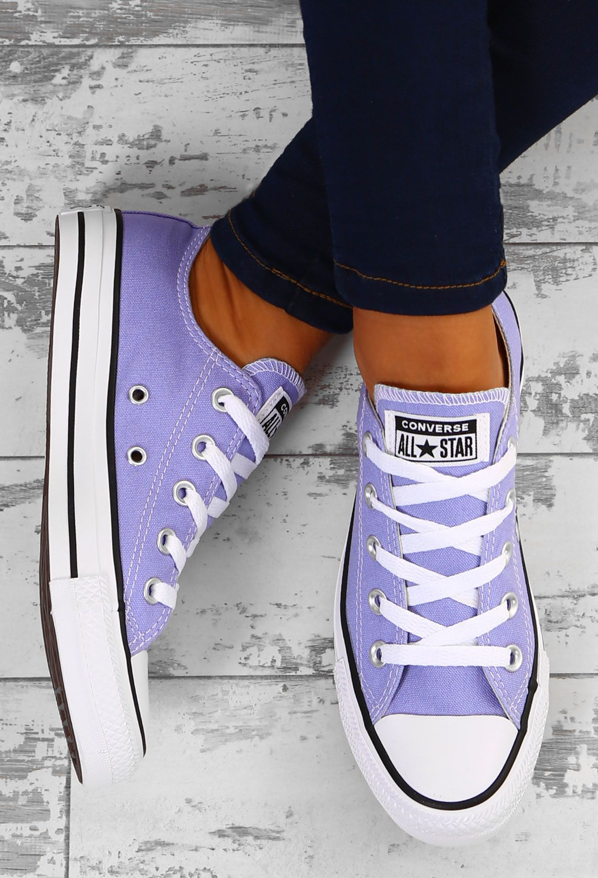 Chuck Taylor Converse All Star Ox Purple Trainers UK 3