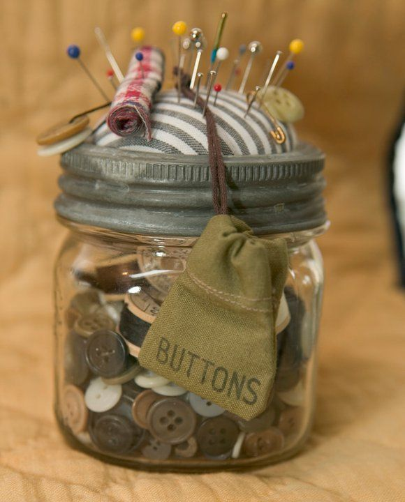 Decorate A Jar Sewing Kit Inside An Old Canning Jarand The Jar Would Be Fun To