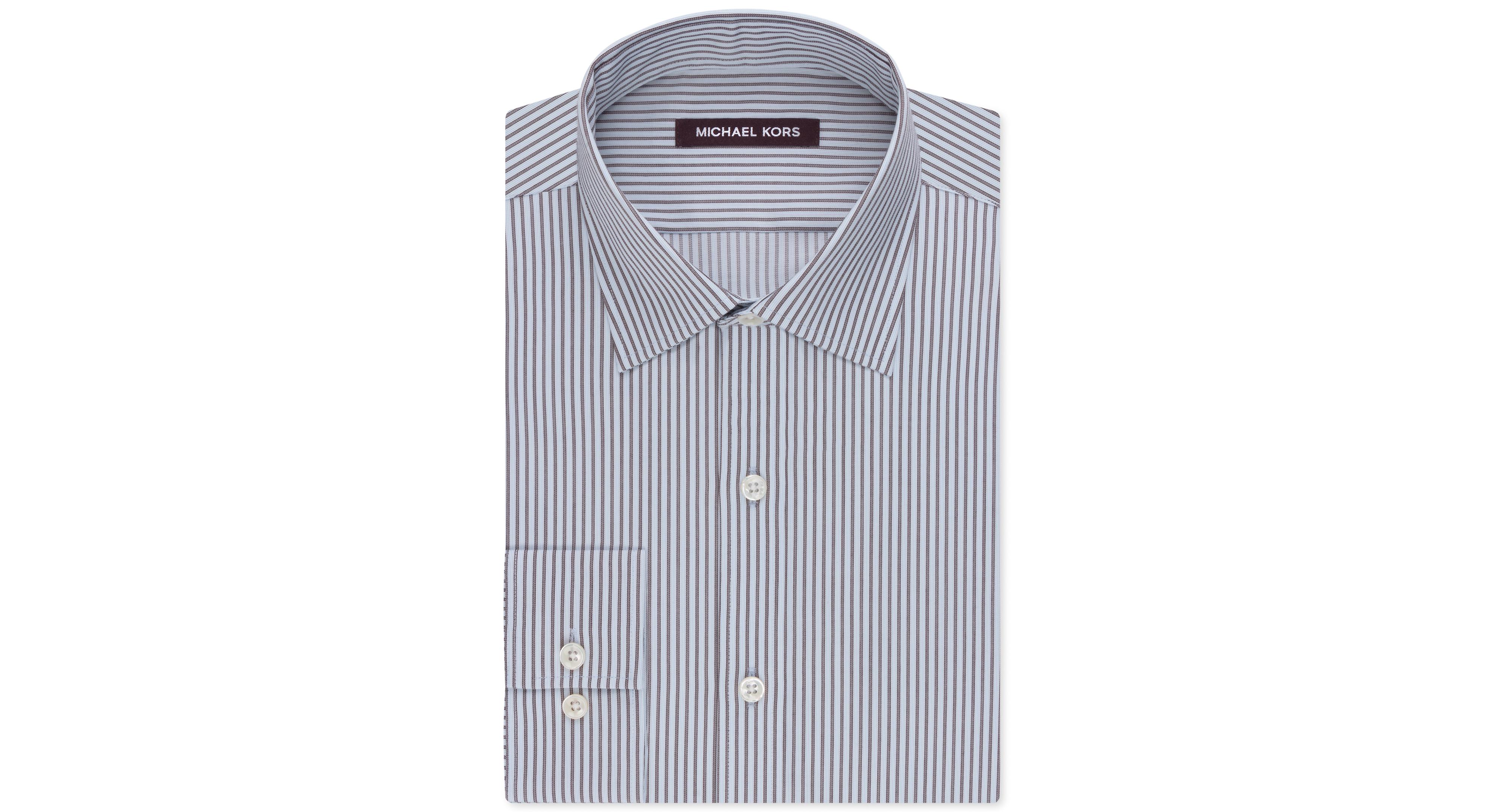Michael Kors Tobacco Stripe French Cuff Dress Shirt
