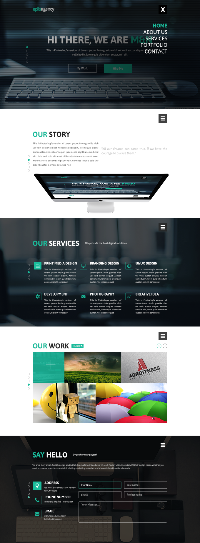 Free Creative Agency Website Template, #Free, #Layout, #PSD ...