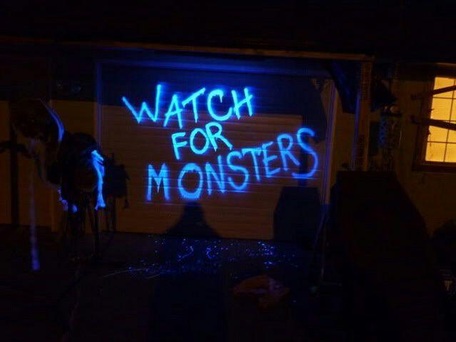 Garage Doors/Large Wall Sign Blacklight Hairspray and a few - halloween garage ideas