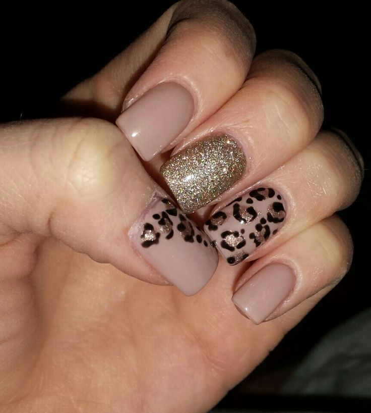 Fall nails! Champagne nude mauve leopard metallic glitter sparkle ...