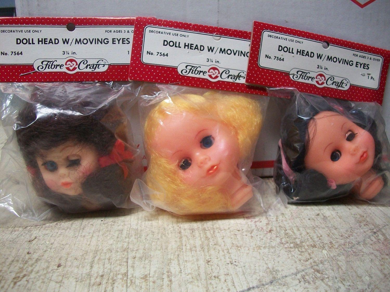 Packaged Fibrecraft Doll Head With Peek A Boo Eyes Black Hair Doll Head Dolls Cute Dolls