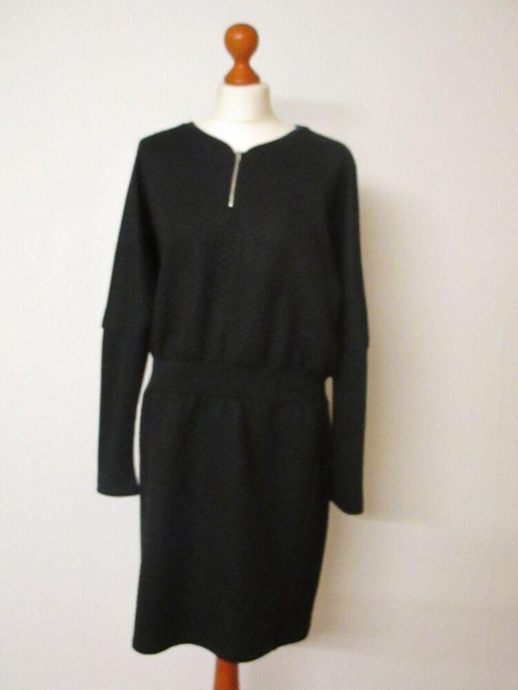Größe schwarz in langer Waffelmuster Arm Tuzzi Kleid 44 nkOPw80X