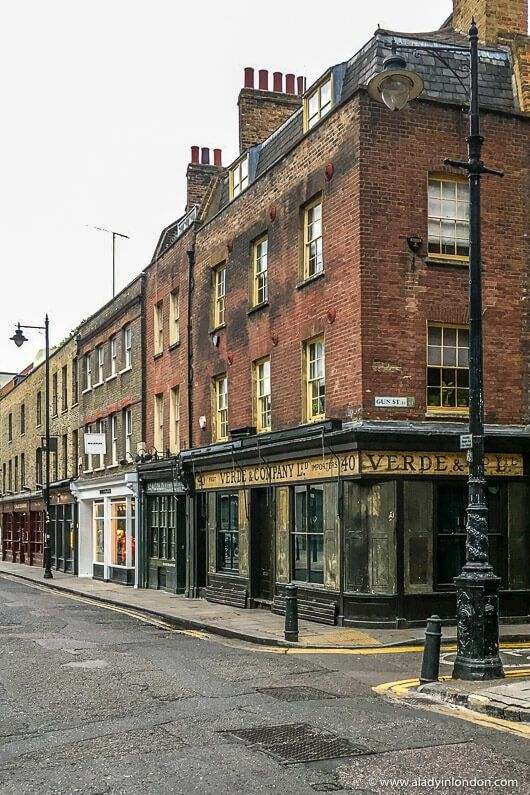 Historic buildings on Brushfield Street by Old Spitalfields Market in London, England. This is a great area to see London's history. Click through for more on the A Lady in London blog.  #london #spitalfields #history